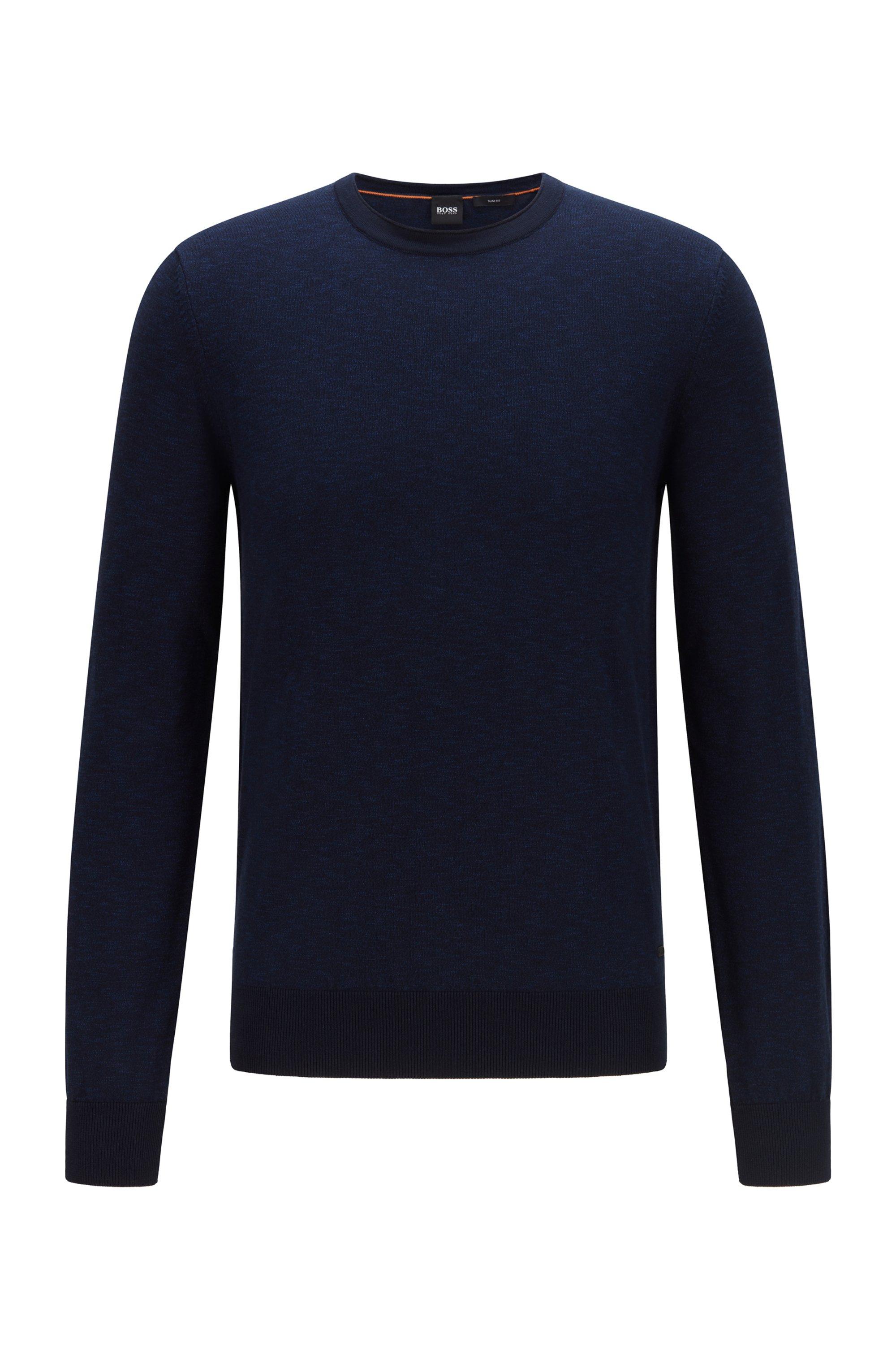 Slim-fit trui van katoen met gerolde kraag, Donkerblauw