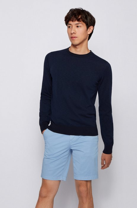 Slim-fit sweater in cotton with rolled-edge collar, Dark Blue