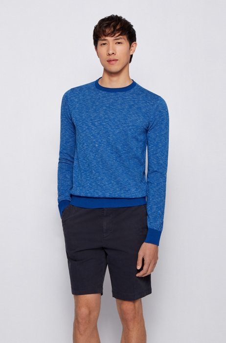 Slim-fit sweater in cotton with rolled-edge collar, Blue