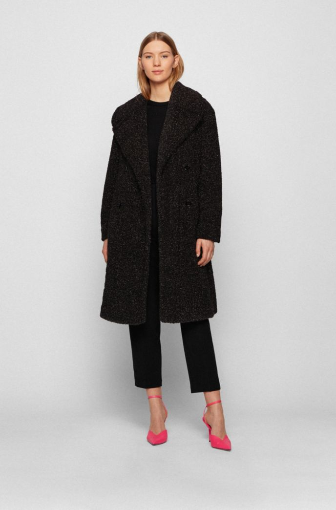 Relaxed-fit teddy coat with glitter finish