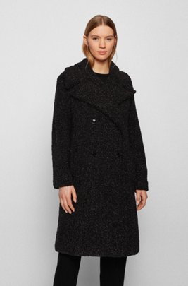 Relaxed-fit teddy coat with glitter finish, Black