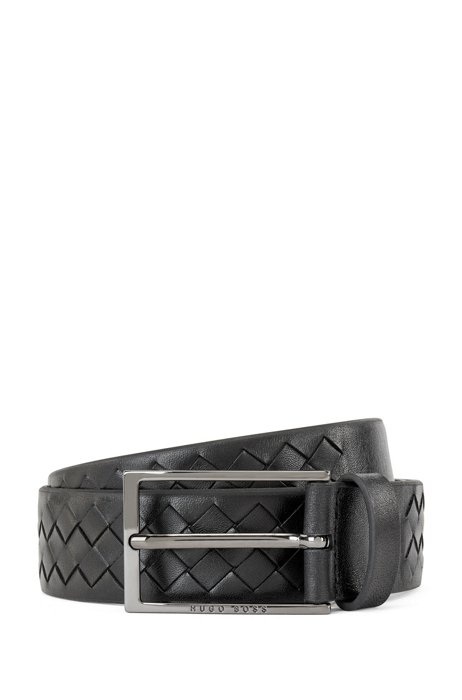Woven-leather belt with logo pin buckle, Black