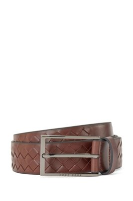 Woven-leather belt with logo pin buckle, Dark Brown