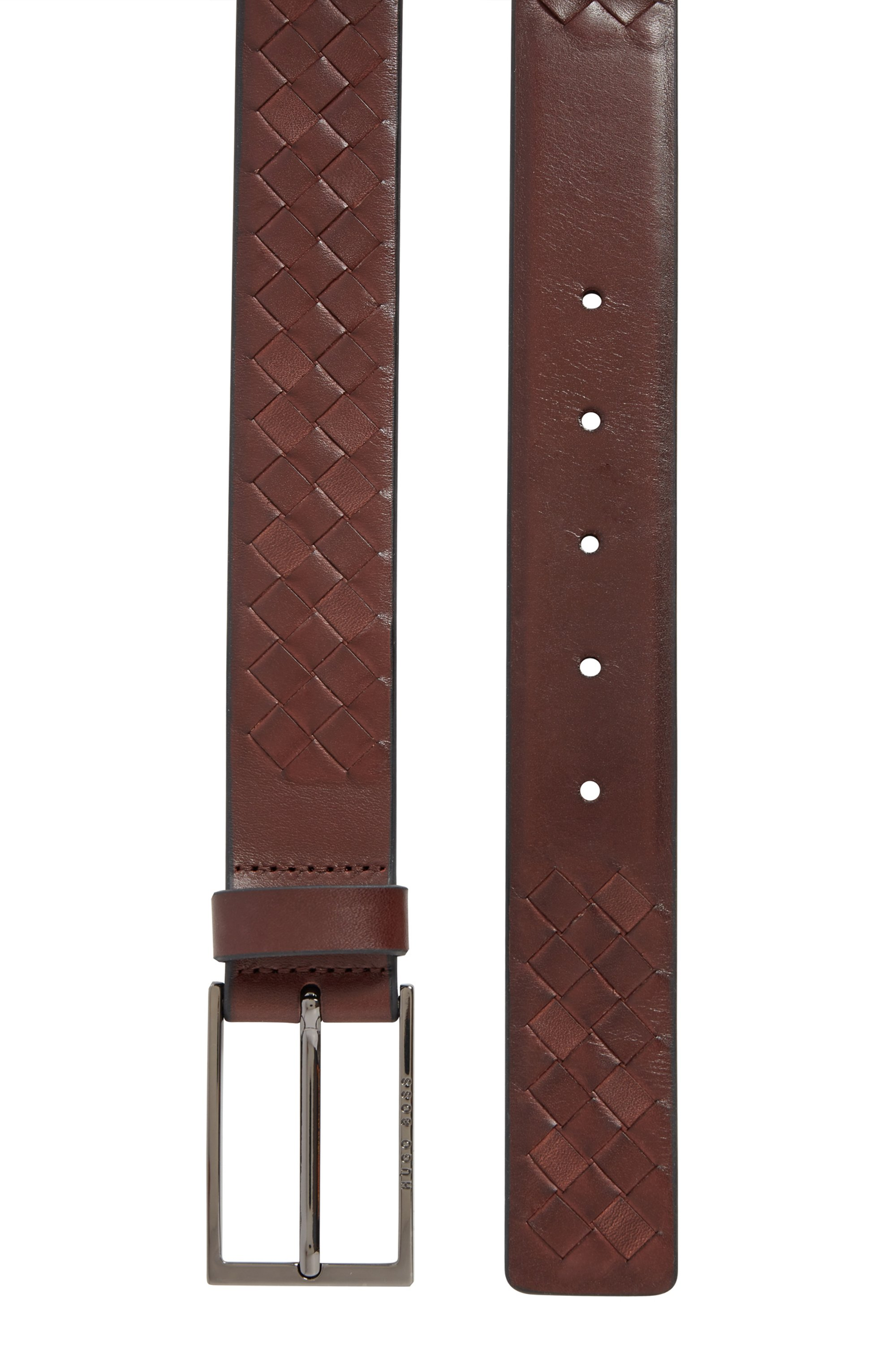 Woven-leather belt with logo pin buckle