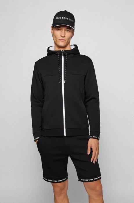 Sweater met capuchon, ritssluiting en logostiksel, Zwart