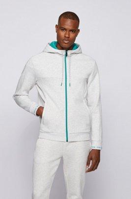 Zip-up hooded sweatshirt with logo embroidery, Light Grey