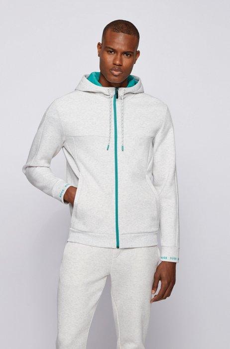 Sweater met capuchon, ritssluiting en logostiksel, Lichtgrijs