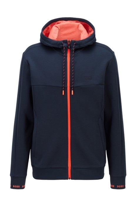 Zip-up hooded sweatshirt with logo embroidery, Dark Blue