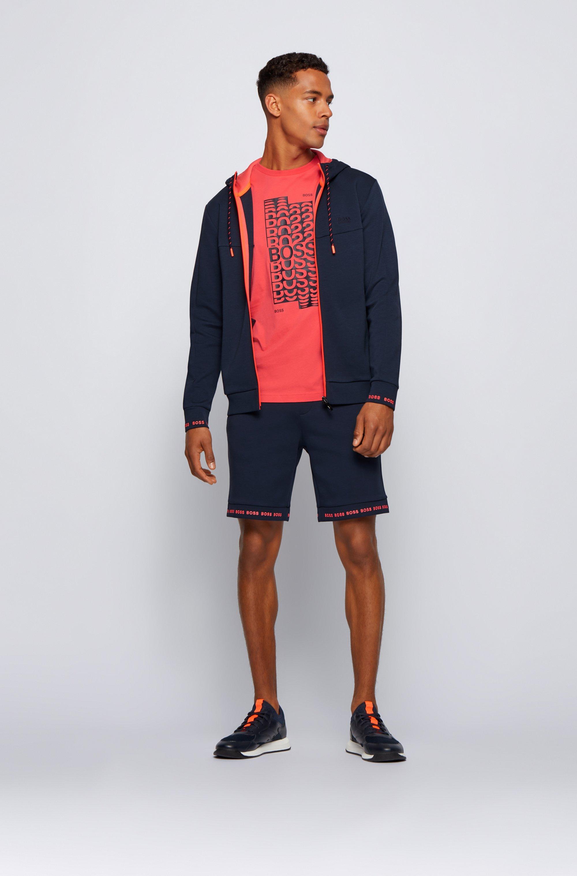 Zip-up hooded sweatshirt with logo embroidery