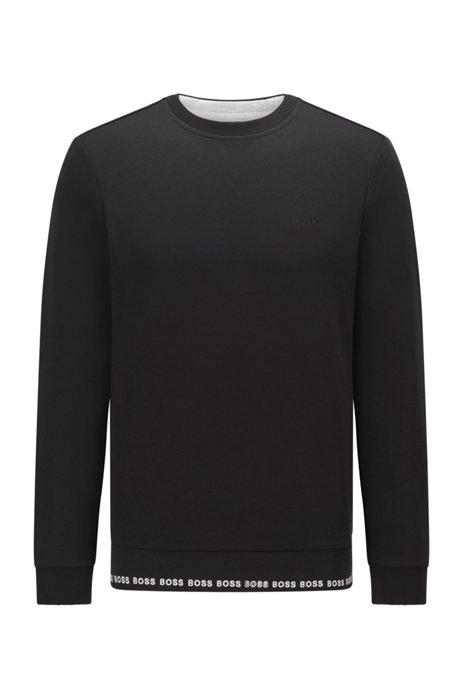 Slim-fit sweatshirt with embroidered-logo detailing, Black