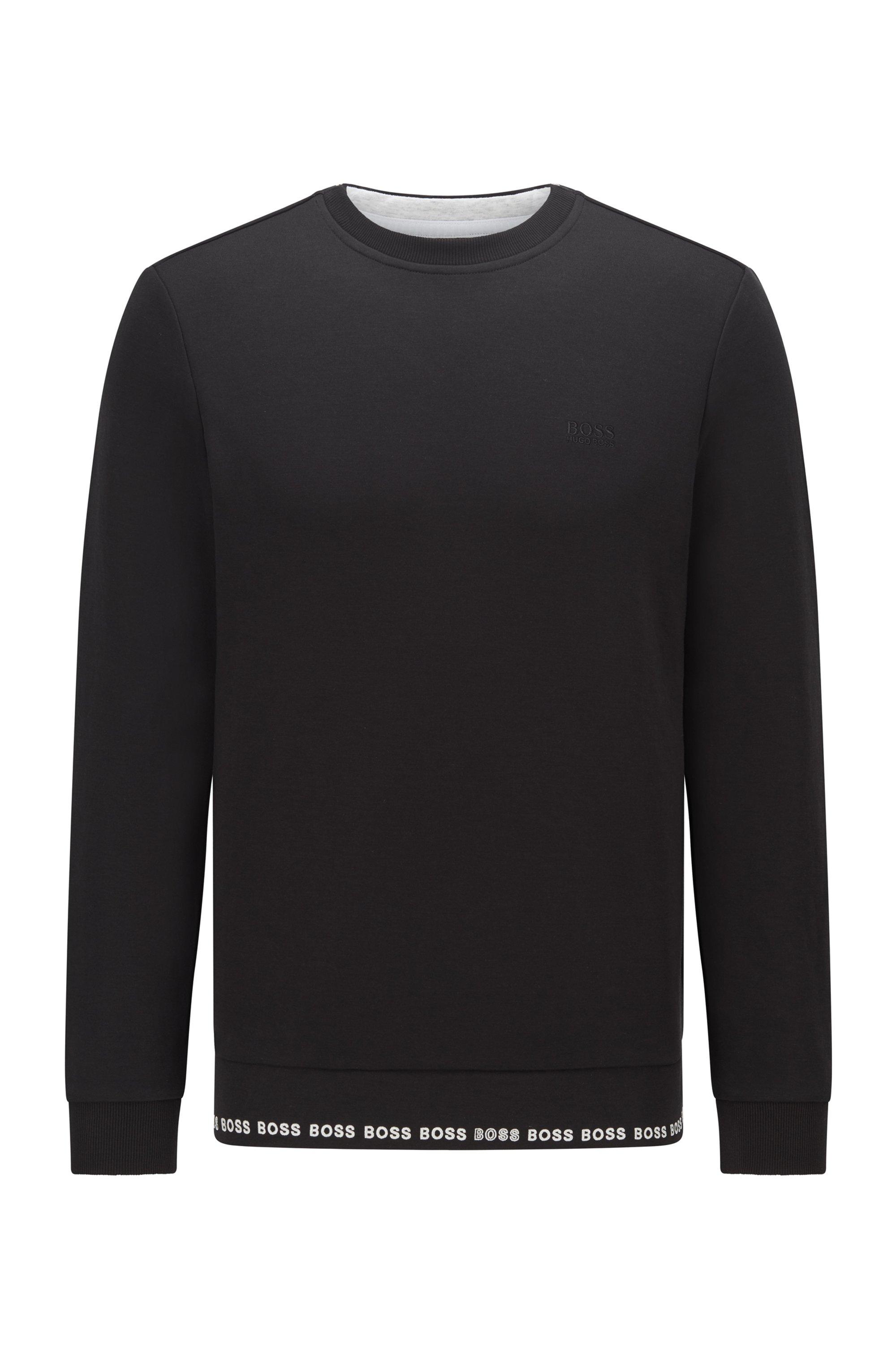 Sweat Slim Fit avec logo brodé, Noir