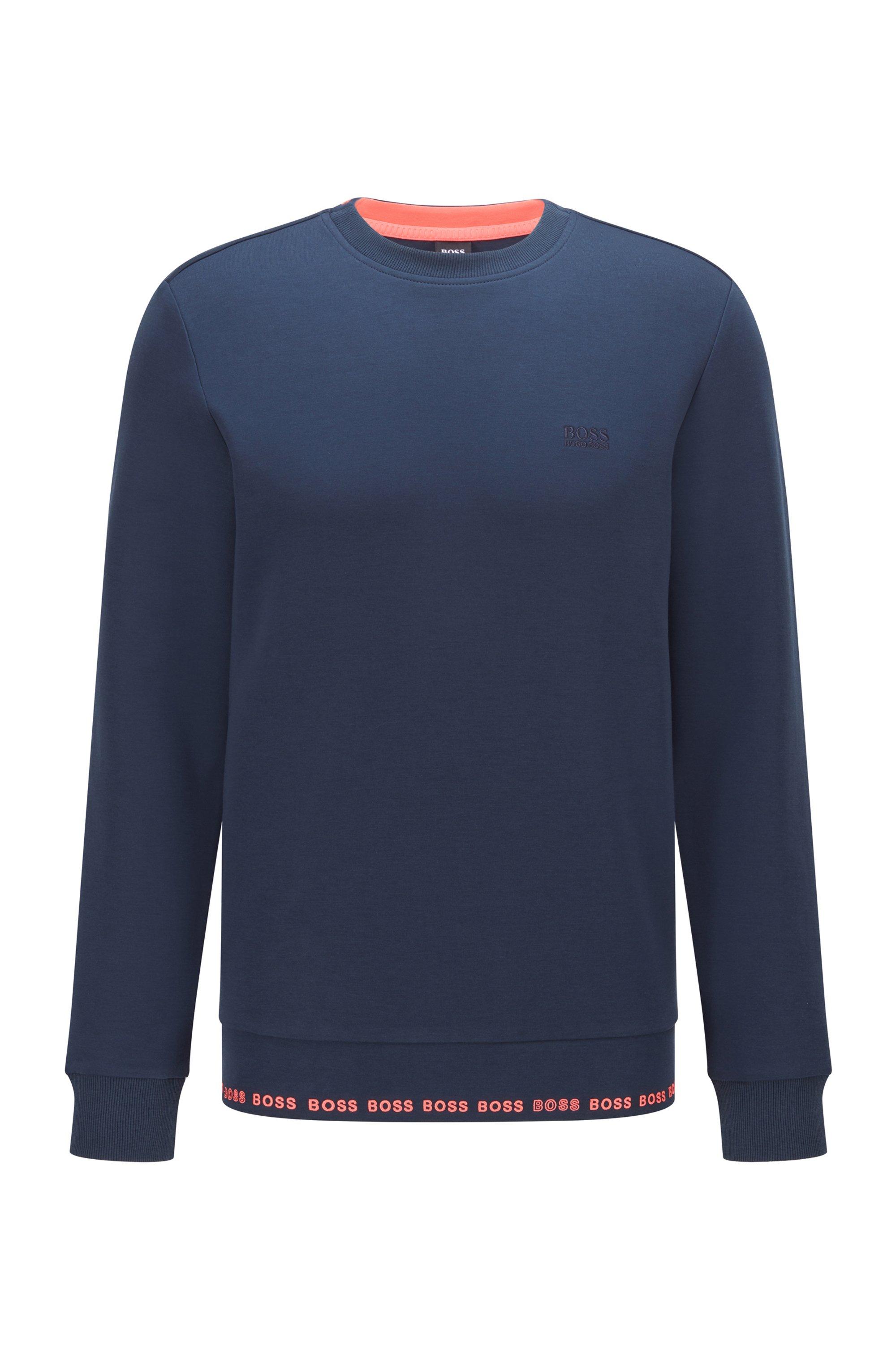 Slim-fit sweatshirt with embroidered-logo detailing, Dark Blue