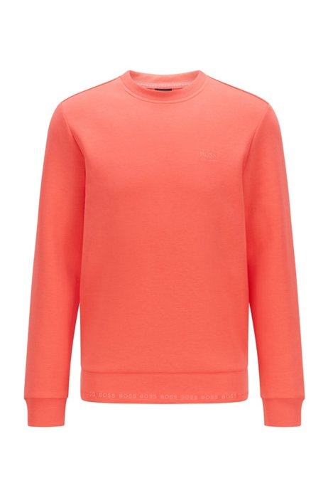 Slim-fit sweatshirt with embroidered-logo detailing, Light Red