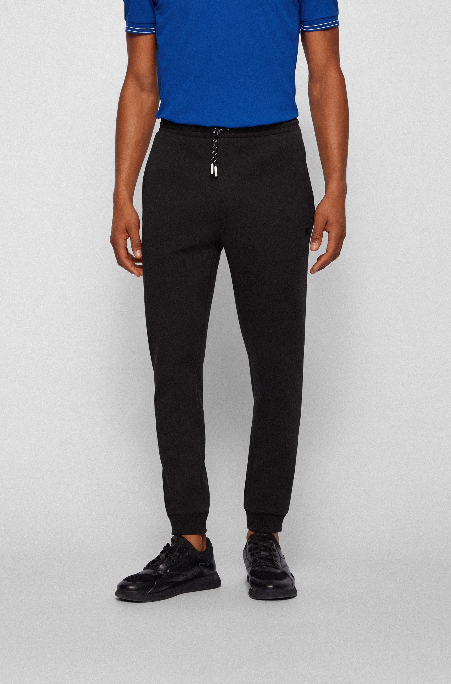 Cuffed tracksuit bottoms with striped drawcord, Black