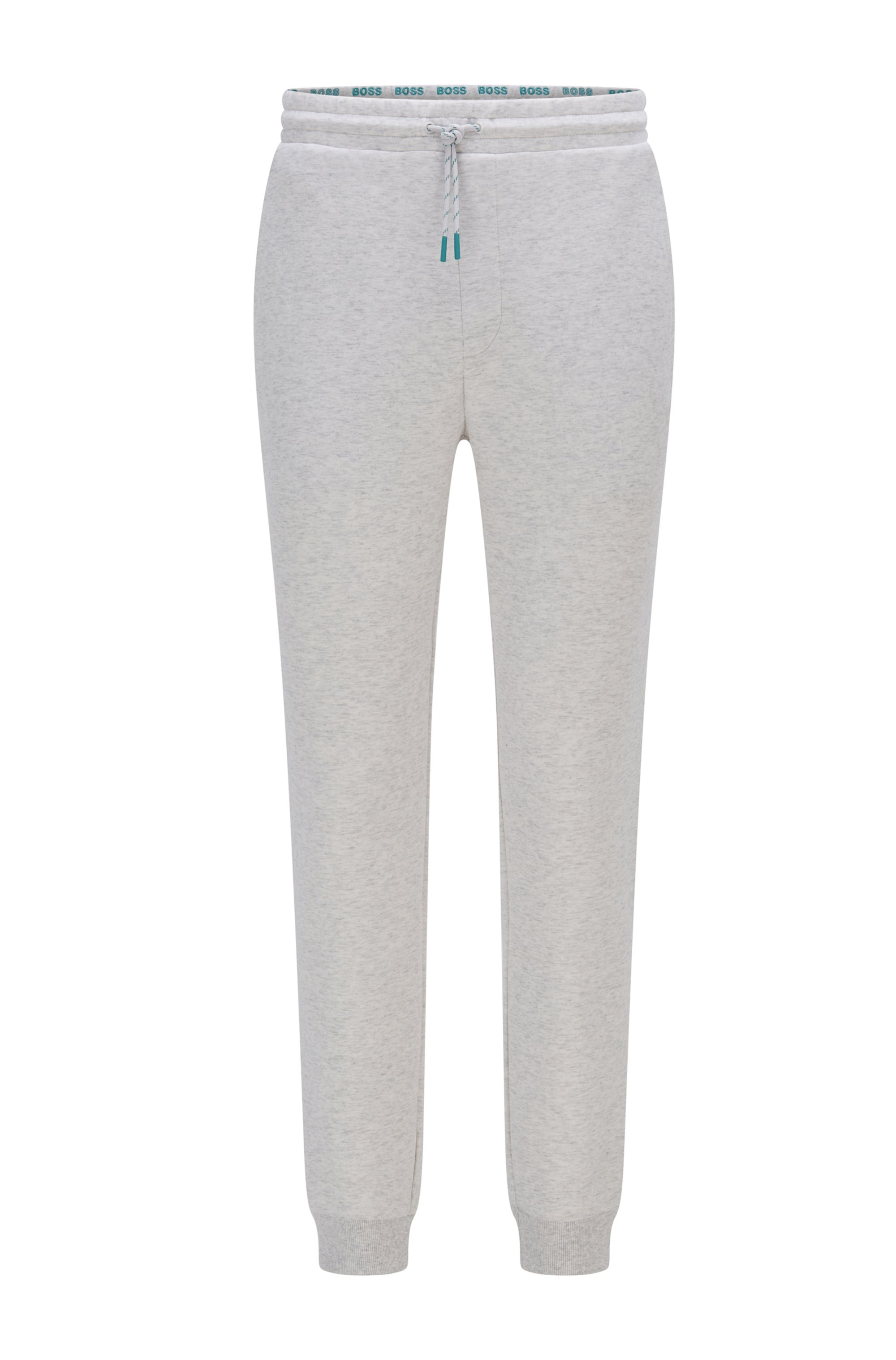 Cuffed tracksuit bottoms with striped drawcord, Light Grey