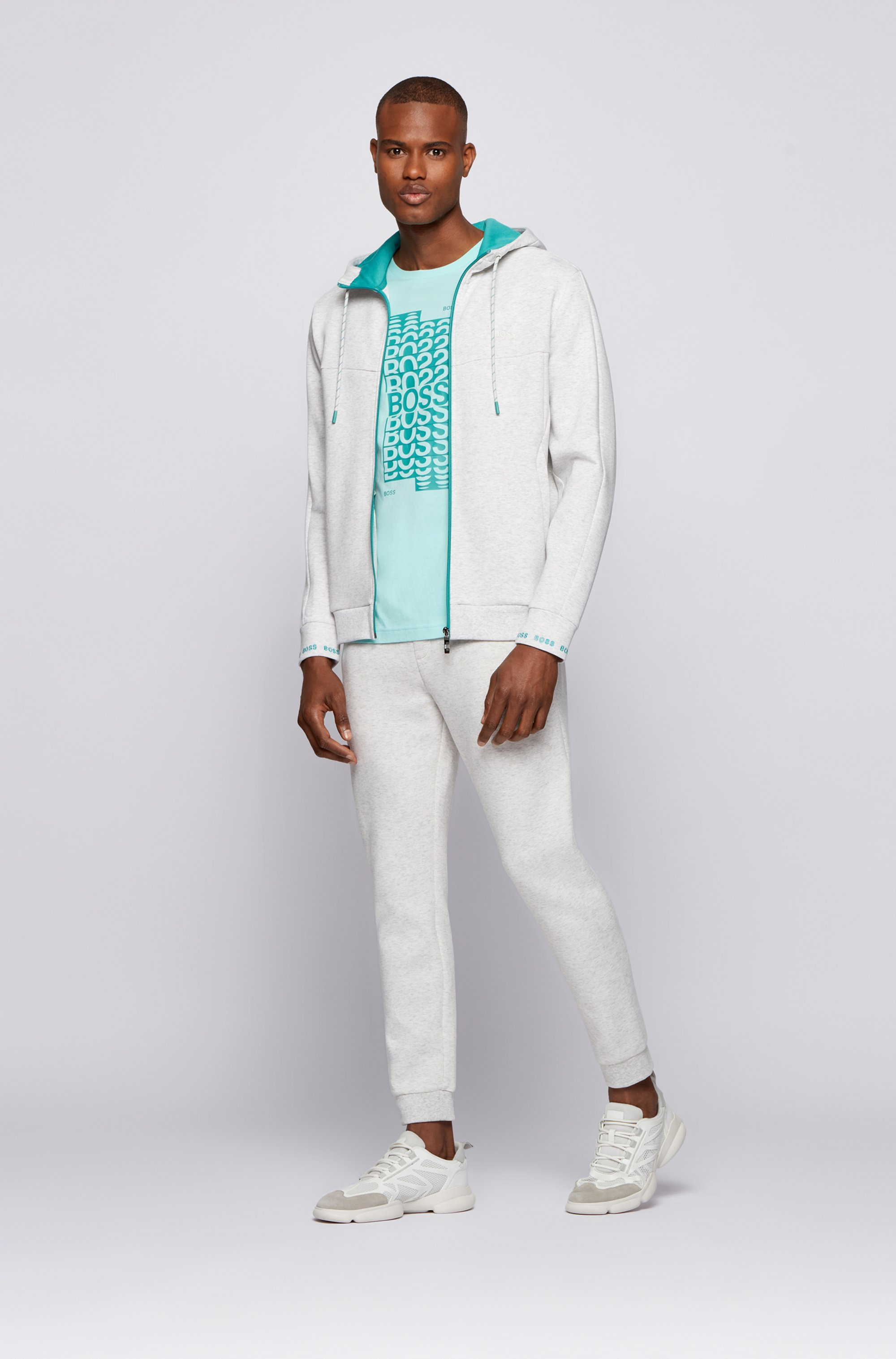 Cuffed tracksuit bottoms with striped drawcord