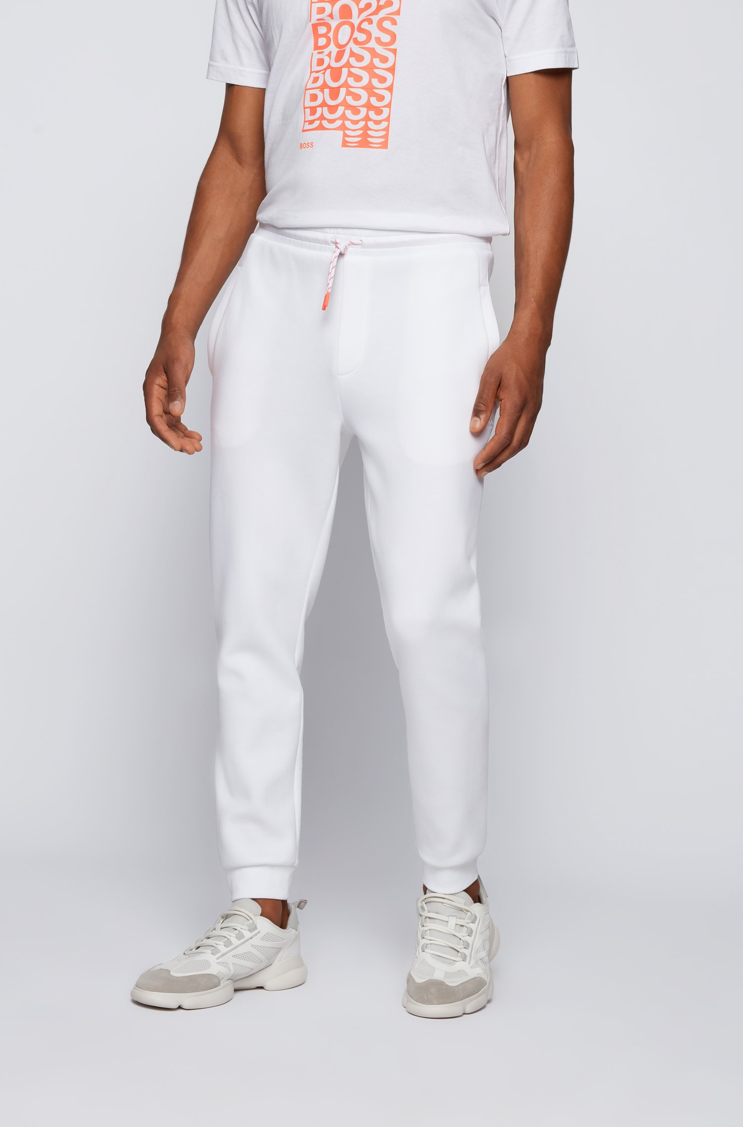 Cuffed tracksuit bottoms with striped drawcord, White