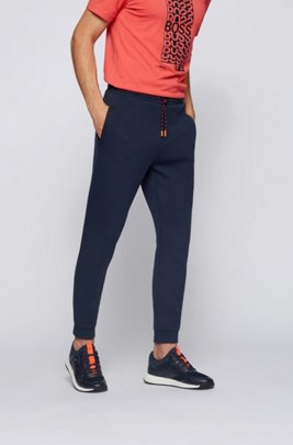 Cuffed tracksuit bottoms with striped drawcord, Dark Blue