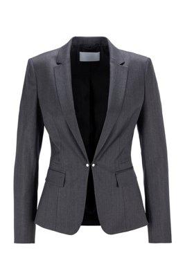 Regular-fit jacket in virgin wool with cufflink closure, Patterned