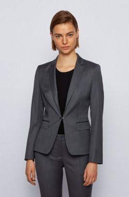 Regular-fit jacket in virgin wool with cufflink closure, Patterned
