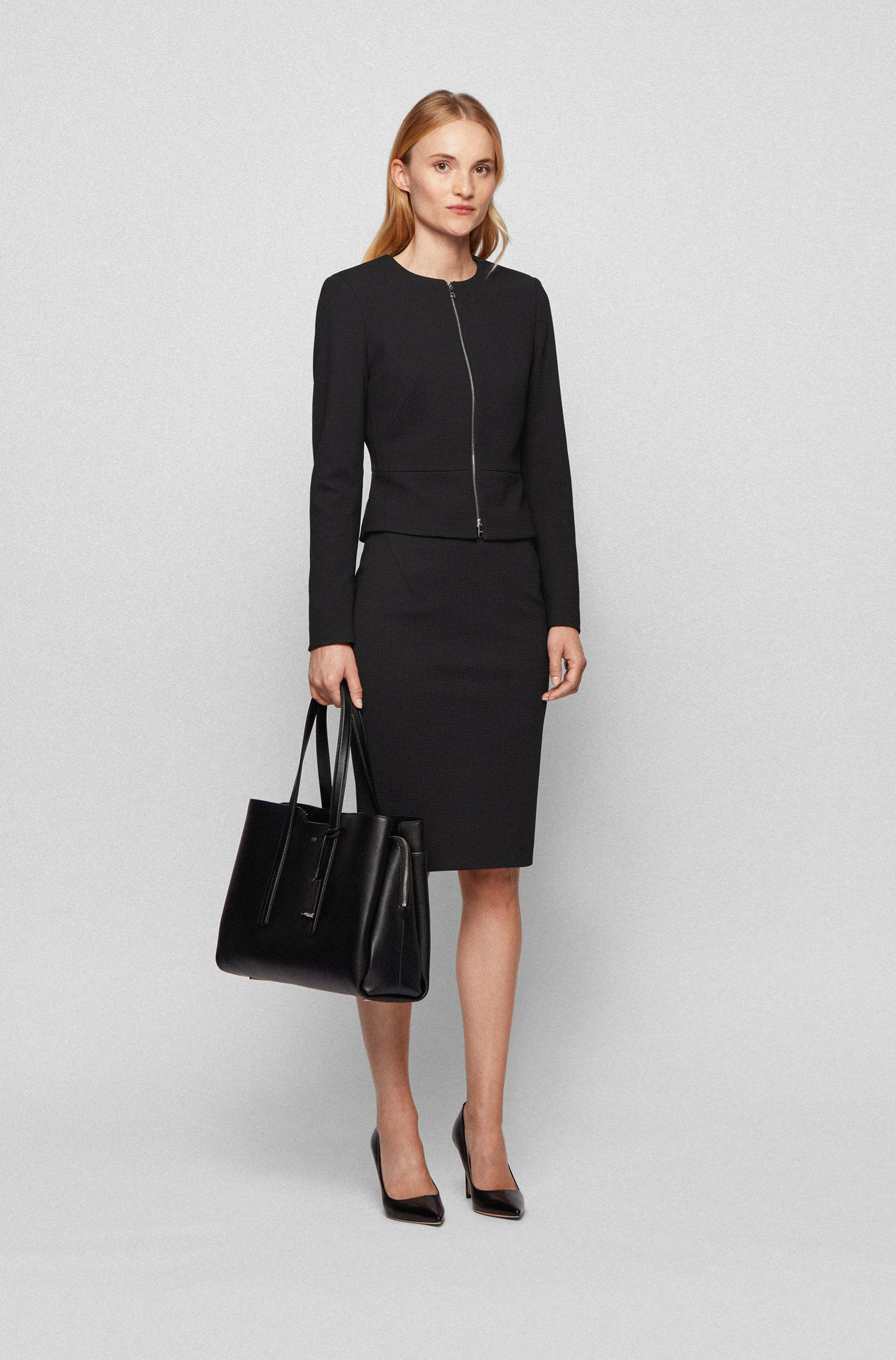Houndstooth-jersey pencil skirt with exposed-zip detail