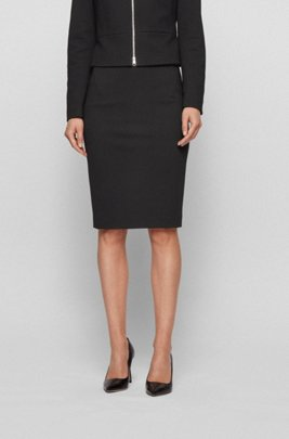 Houndstooth-jersey pencil skirt with exposed-zip detail, Black