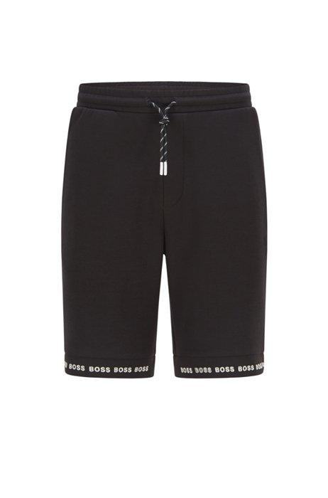 Regular-fit shorts van stretchjersey met logozomen, Zwart