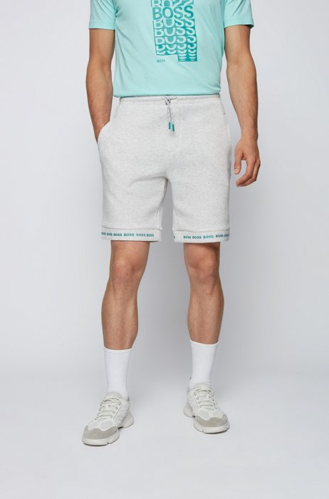Regular-fit shorts in stretch jersey with logo hems, Light Grey