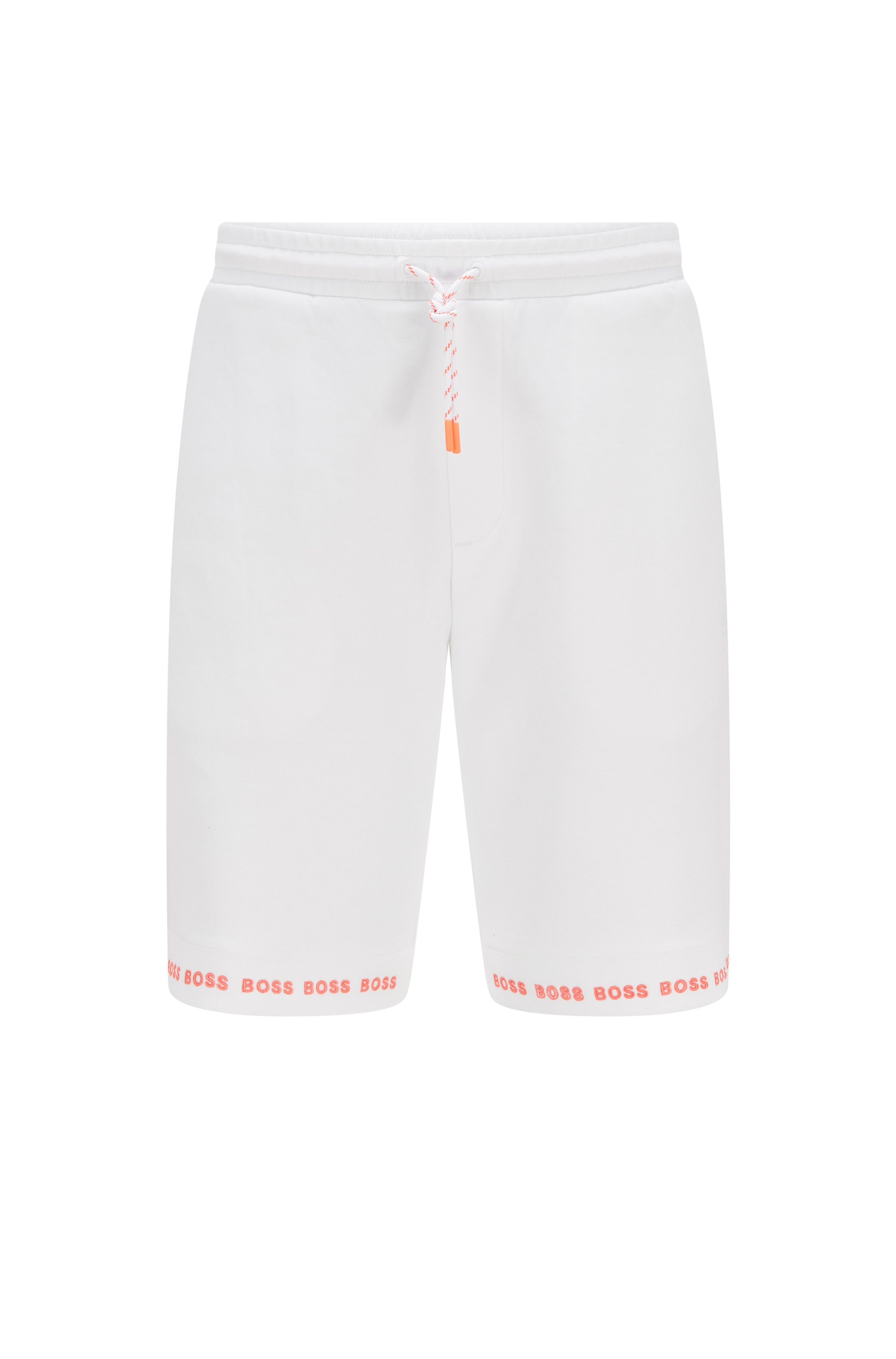 Regular-fit shorts van stretchjersey met logozomen, Wit