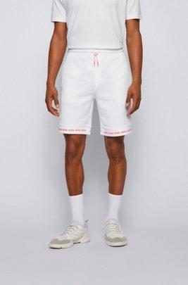 Regular-Fit Shorts aus Stretch-Jersey mit Logos am Saum, Weiß