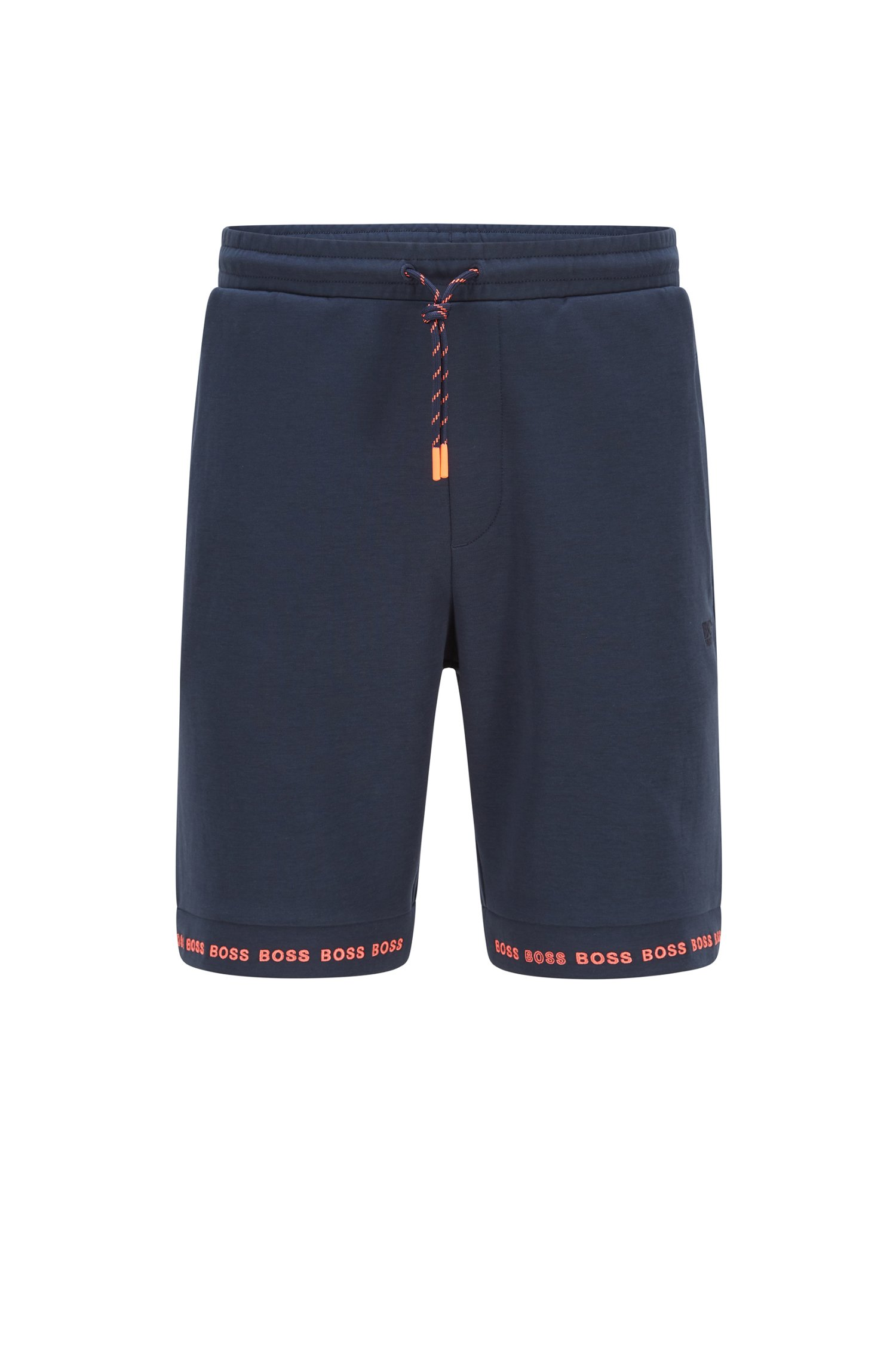 Regular-Fit Shorts aus Stretch-Jersey mit Logos am Saum, Dunkelblau