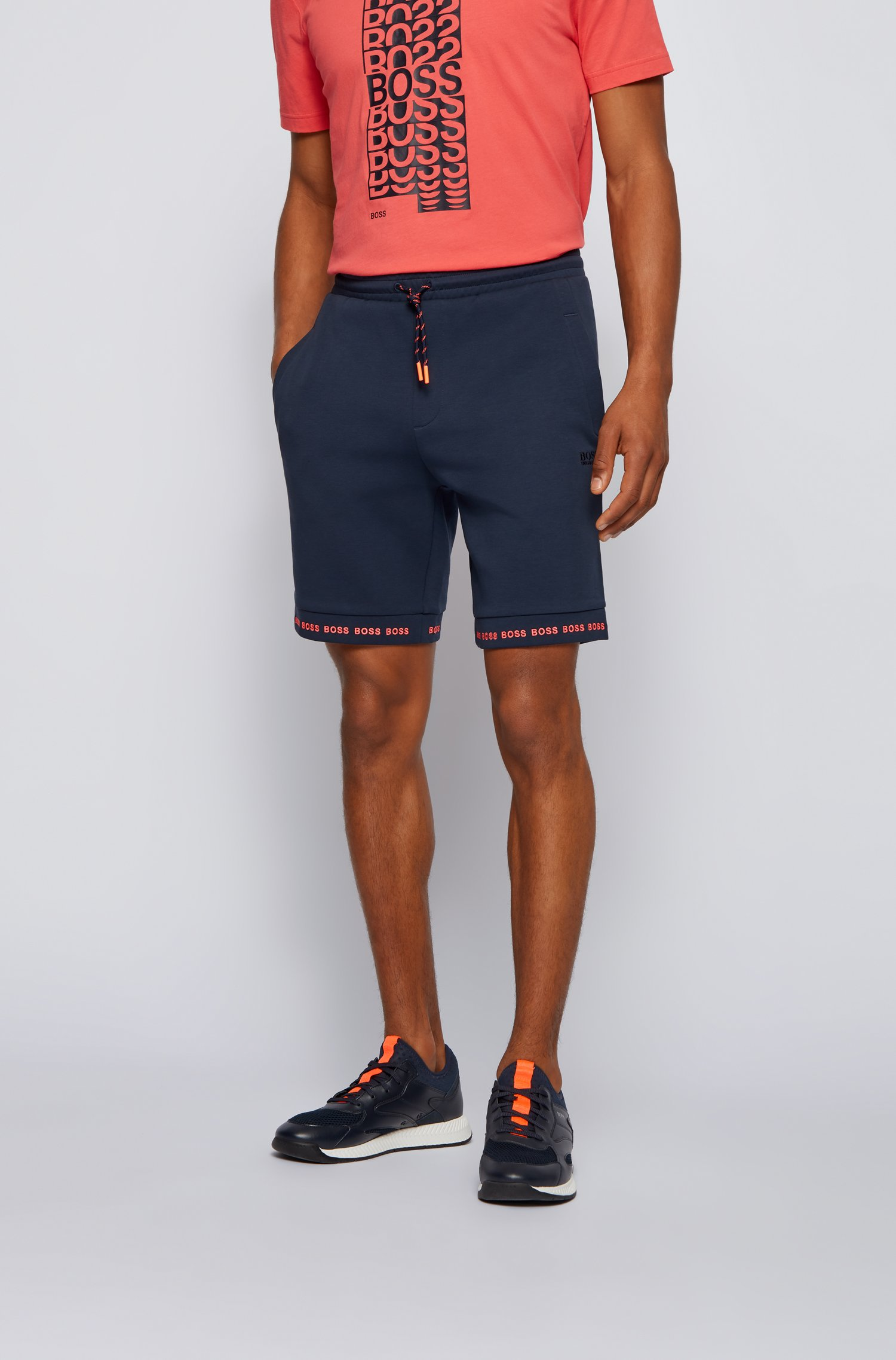Regular-fit shorts in stretch jersey with logo hems, Dark Blue