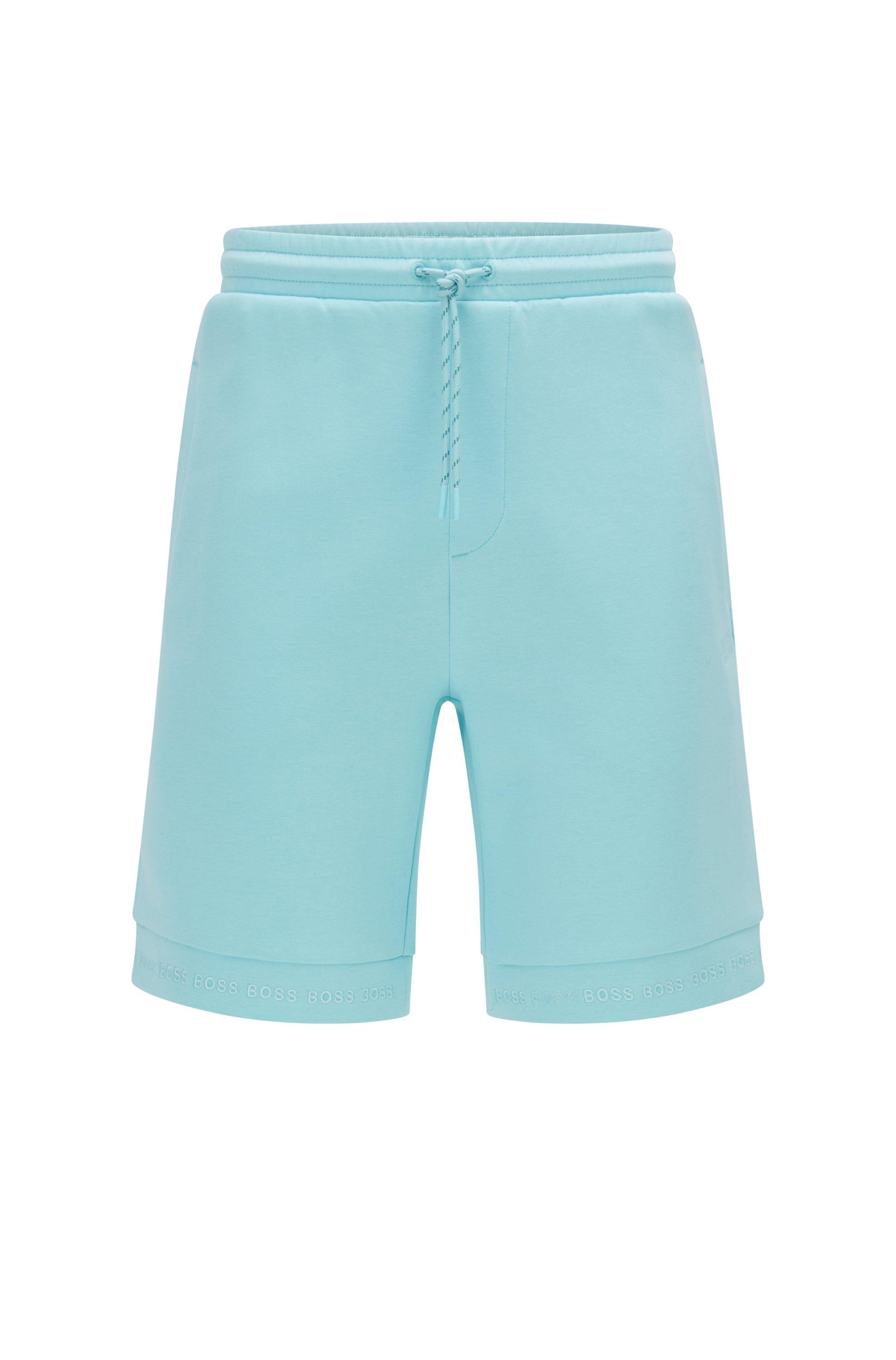 Regular-Fit Shorts aus Stretch-Jersey mit Logos am Saum, Hellblau