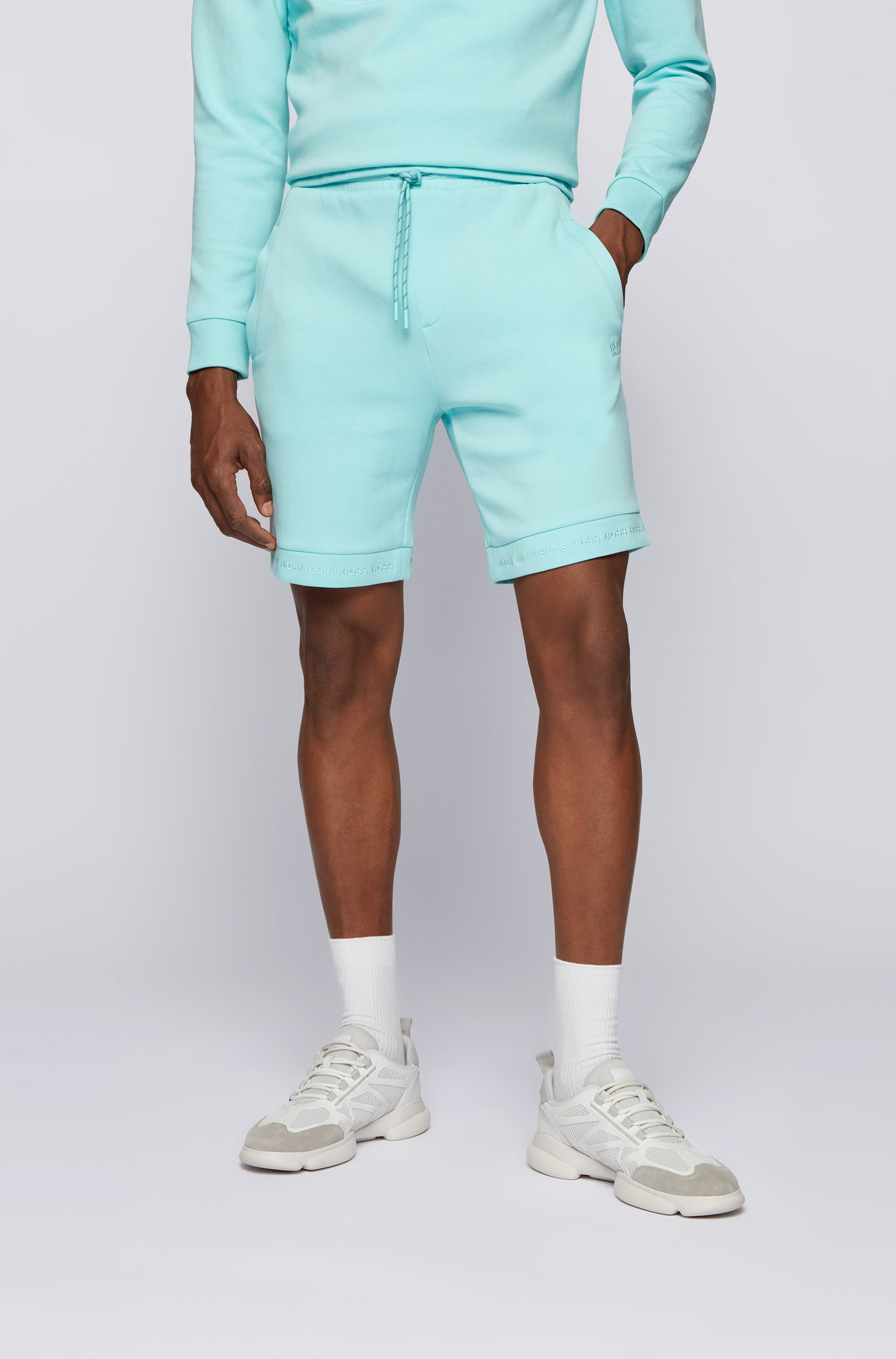 Regular-fit shorts in stretch jersey with logo hems, Light Blue
