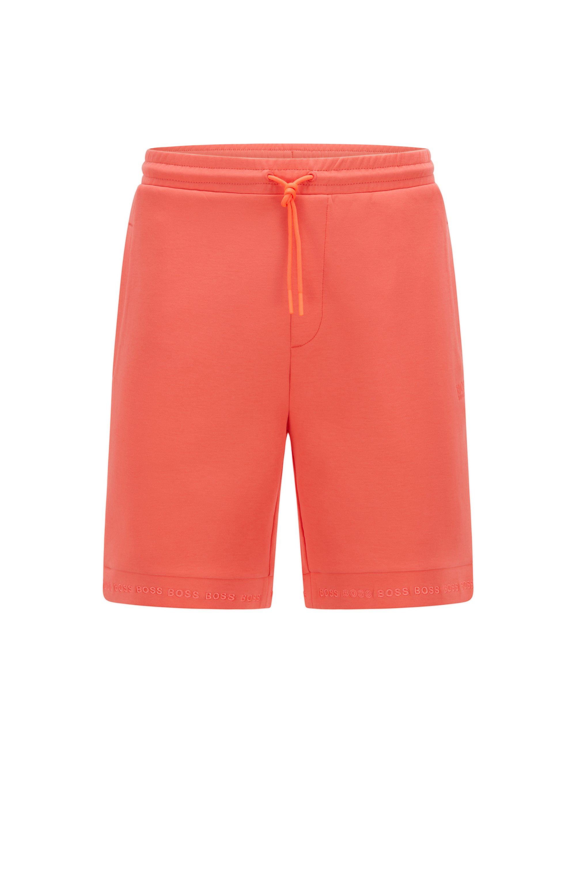 Short Regular Fit en jersey stretch avec bas des jambes à logo, Orange
