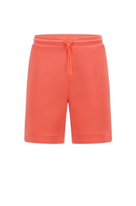 Regular-fit shorts in stretch jersey with logo hems, Orange