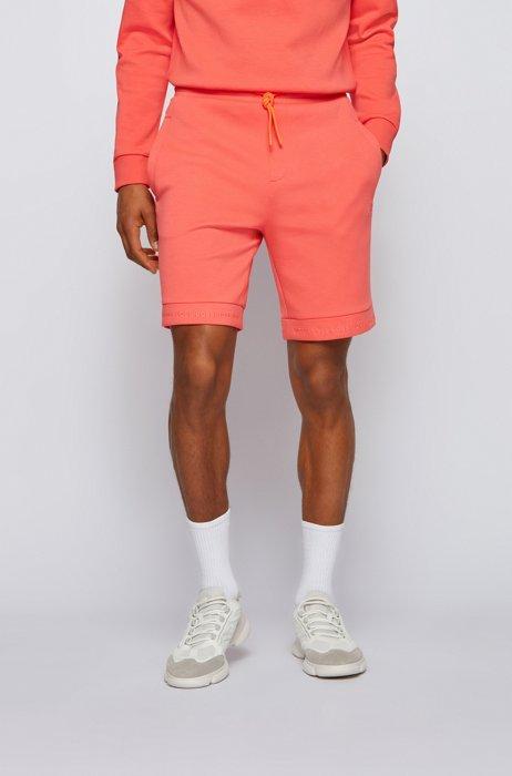 Regular-fit shorts van stretchjersey met logozomen, Oranje