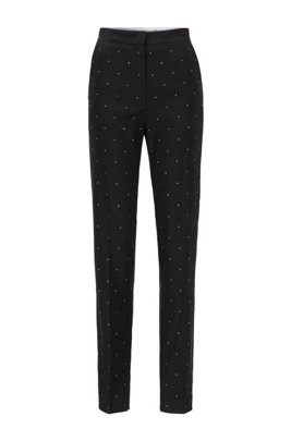 Regular-fit trousers in virgin wool with Swarovski® crystals, Black