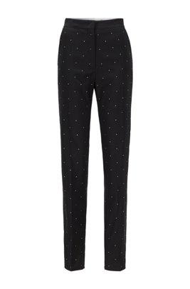 Pantalones regular fit de lana virgen con cristales de Swarovski®, Negro