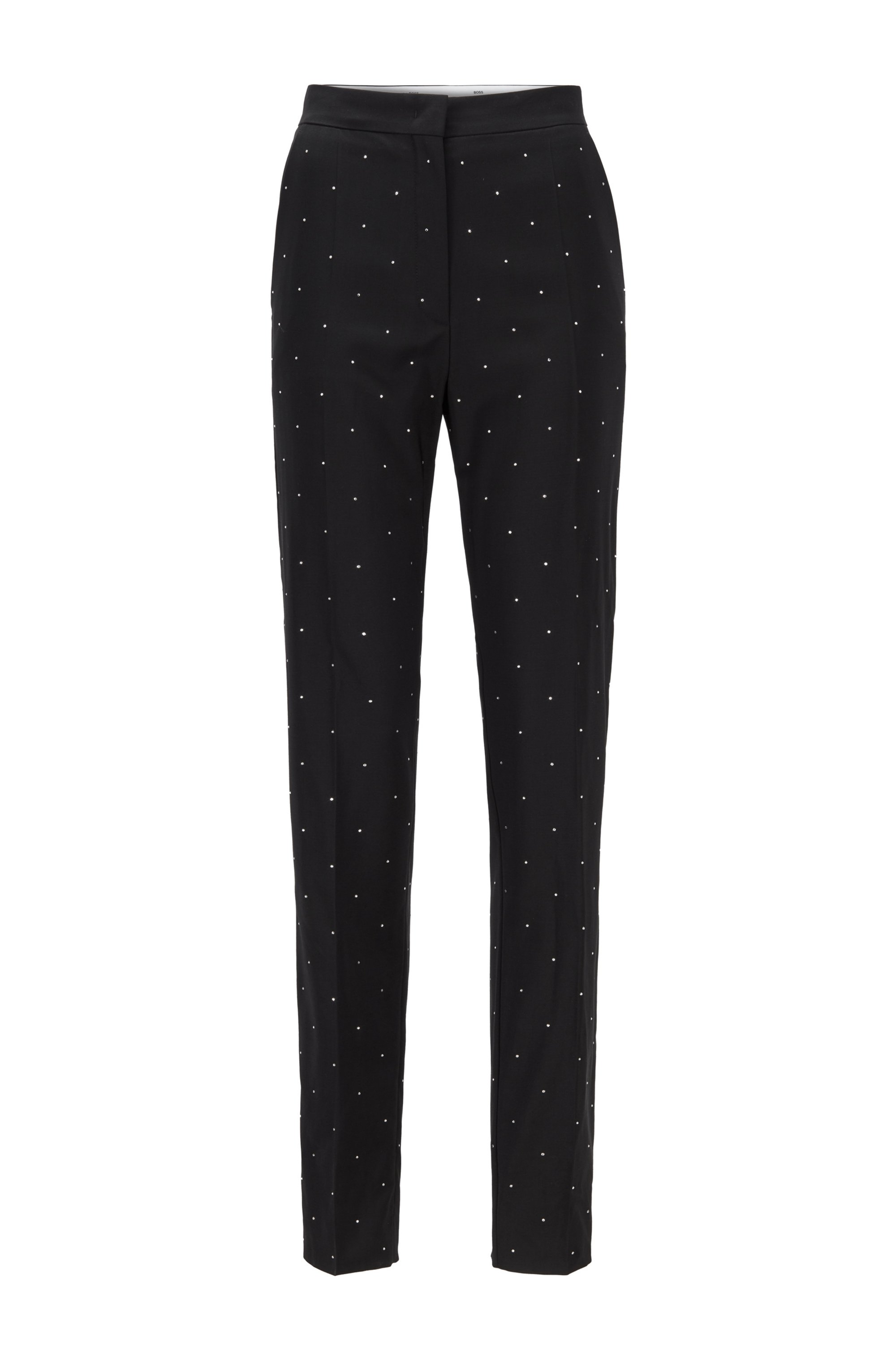 Regular-fit trousers in virgin wool with crystals, Black