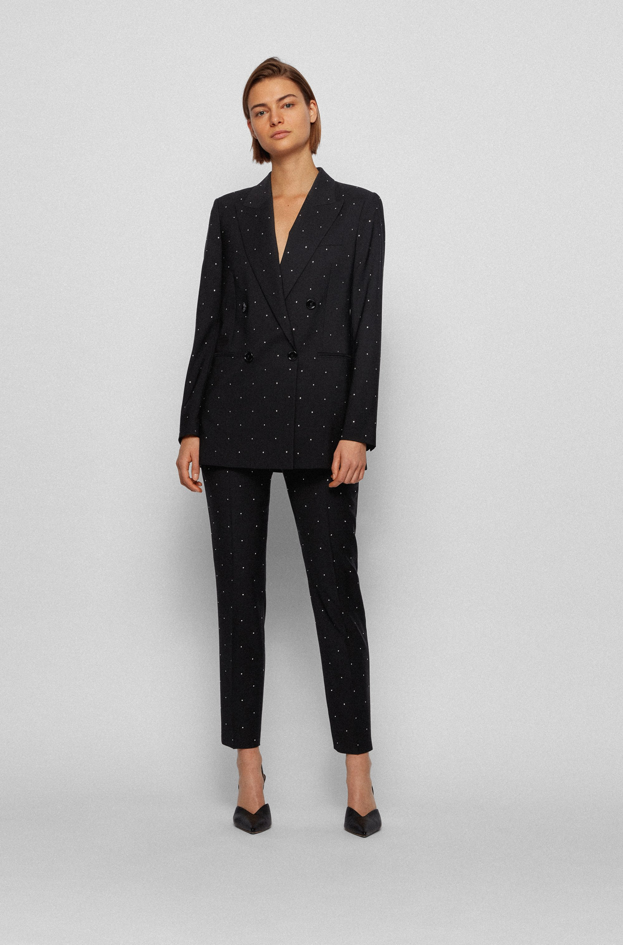 Regular-fit trousers in virgin wool with crystals