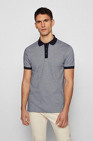 撞色装饰微型图案棉质 Polo 衫,  402_Dark Blue