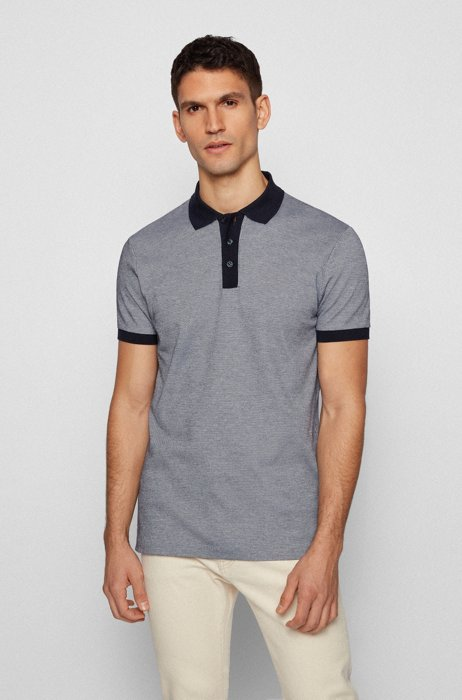 Micro-patterned cotton polo shirt with contrast accents, Grey