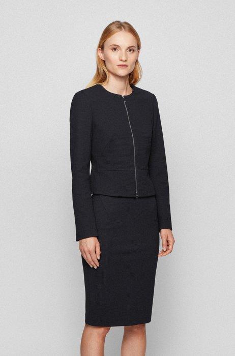 Collarless regular-fit jacket in houndstooth jersey, Black