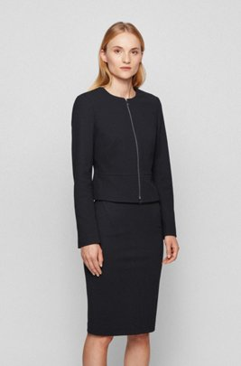 Collarless regular-fit jacket in houndstooth jersey, Black