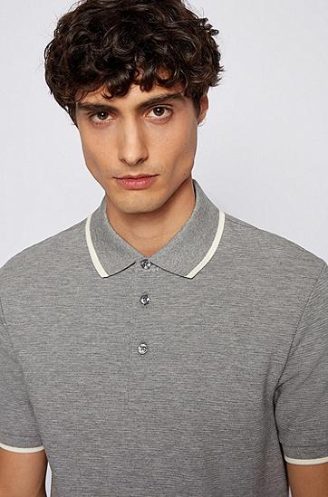 双面针织棉质面料修身版 Polo 衫,  041_Silver