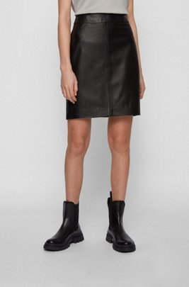Leather skirt with rear zip and feature stitching, Black
