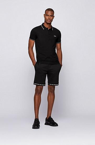 徽标细节装饰衣领修身 Polo 衫,  001_Black