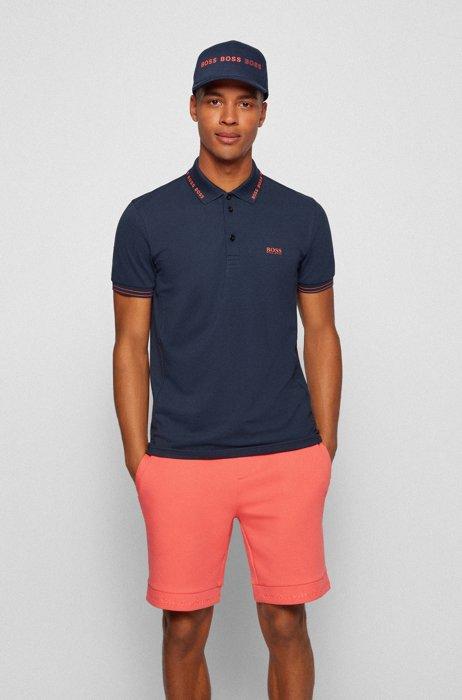 Slim-fit polo shirt with logo-detail collar, Dark Blue