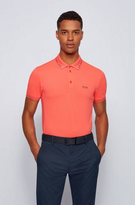 Slim-fit polo shirt with logo-detail collar, Light Red
